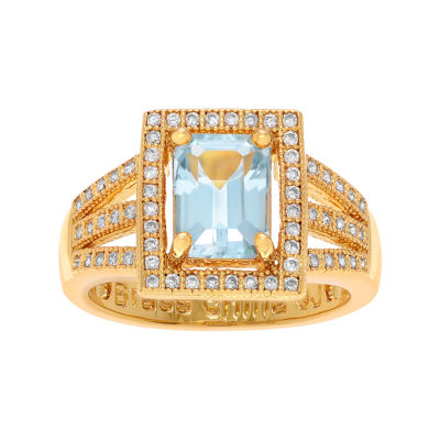 Genuine Blue Topaz and Cubic Zirconia 14K Yellow Gold Over Brass Ring