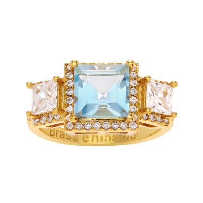Genuine Blue and White Topaz 14K Yellow Gold Over Brass 3-Stone Ring