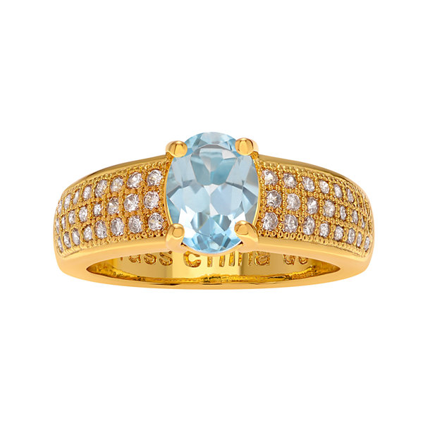 Genuine Blue Topaz and Cubic Zirconia 14K Gold Over Brass Ring