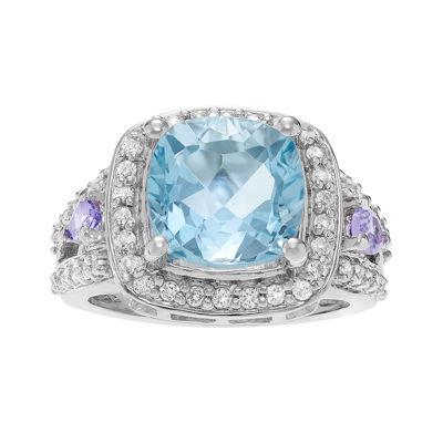 Genuine Tanzanite, Blue and White Topaz Sterling Silver Ring