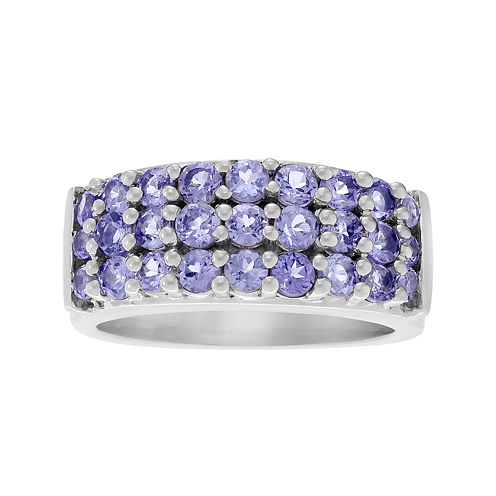 Genuine Purple Tanzanite 3-Row Sterling Silver Ring