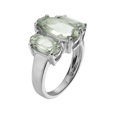 Genuine Green Amethyst Sterling Silver Ring