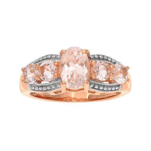 Genuine Pink Morganite 14K Rose Gold Over Silver Ring