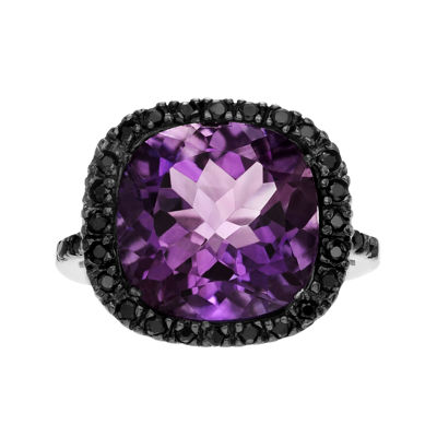 Genuine Purple Amethyst & Black Spinel Sterling Silver Ring