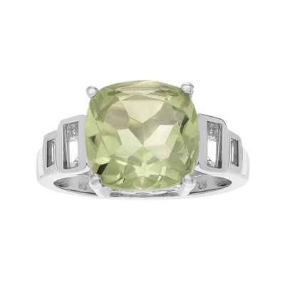 Genuine Green Amethyst & White Topaz Sterling Silver Ring