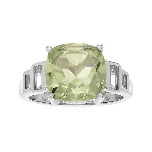 Genuine Green Amethyst & White Topaz Sterling Silver Ring