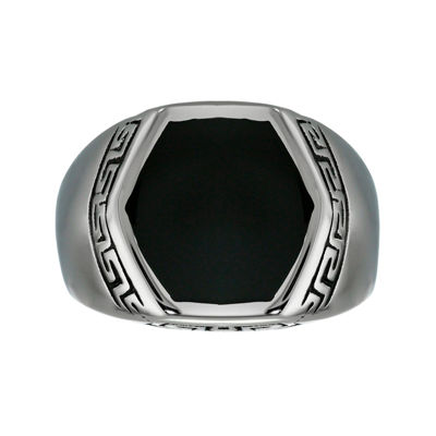 Mens Stainless Steel Greek Design with Resin