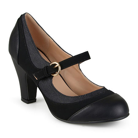 Women's 1920s Shoe Styles and History Journee Collection Womens Siri Mary Jane Pumps 8 12 Medium Black $71.25 AT vintagedancer.com