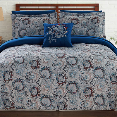Pacific Coast Textiles 8-pc. Damask + Scroll Complete Bedding Set with Sheets