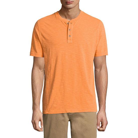 St. John's Bay Havana Mens Short Sleeve Henley Shirt