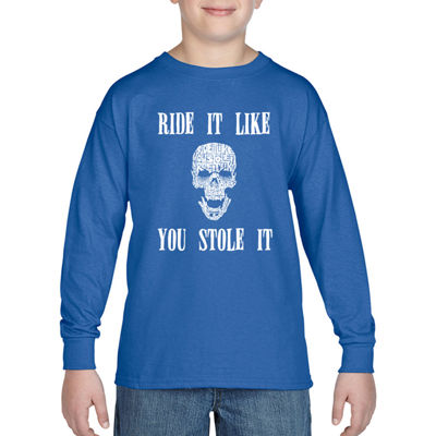 Los Angeles Pop Art Boy's Word Art Long Sleeve - Ride It Like You Stole It