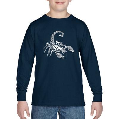 Los Angeles Pop Art Boy's Word Art Long Sleeve - Types of Scorpions
