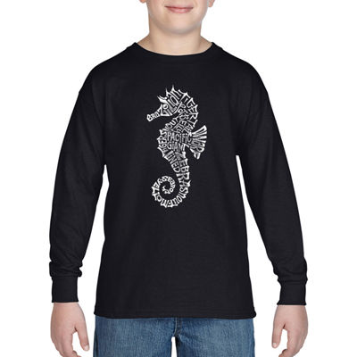 Los Angeles Pop Art Boy's Word Art Long Sleeve - Types of Seahorse