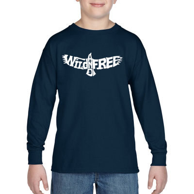 Los Angeles Pop Art Boy's Word Art Long Sleeve - Wild and Free Eagle
