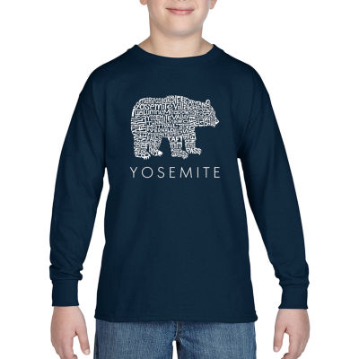 Los Angeles Pop Art Boy's Word Art Long Sleeve - Yosemite Bear