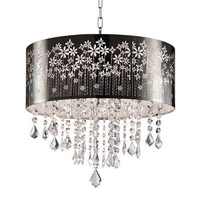 "Ore International 19"" Floral Blooms Crystal Ceiling Lamp"