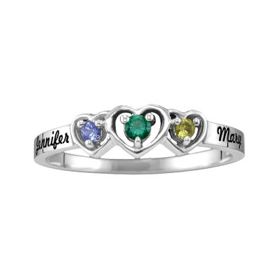 Womens Genuine Multi Color Stone Sterling Silver Heart 3-Stone Ring