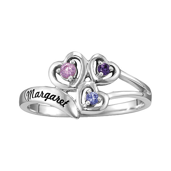 Womens Simulated Multi Color Stone Sterling Silver Heart 3-Stone Cocktail Ring