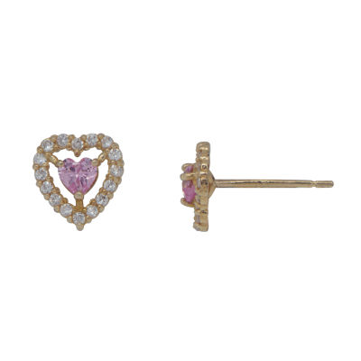 Pink Cubic Zirconia 14K Gold 6mm Heart Stud Earrings