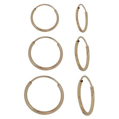 3 Pair 14K Gold Earring Set