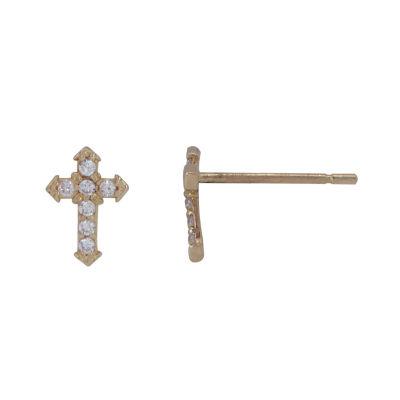 White Cubic Zirconia 14K Gold 7mm Cross Stud Earrings