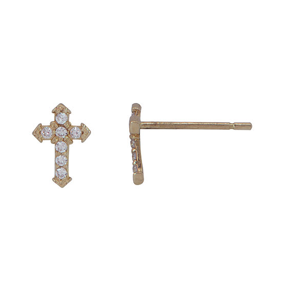 White Cubic Zirconia 14K Gold 7mm Cross Stud Earrings