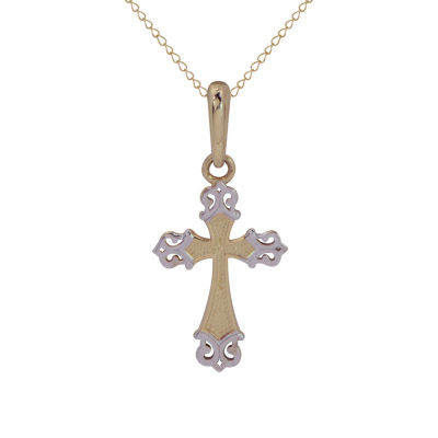 Girls 14K Gold 14K Two Tone Gold Cross Pendant Necklace