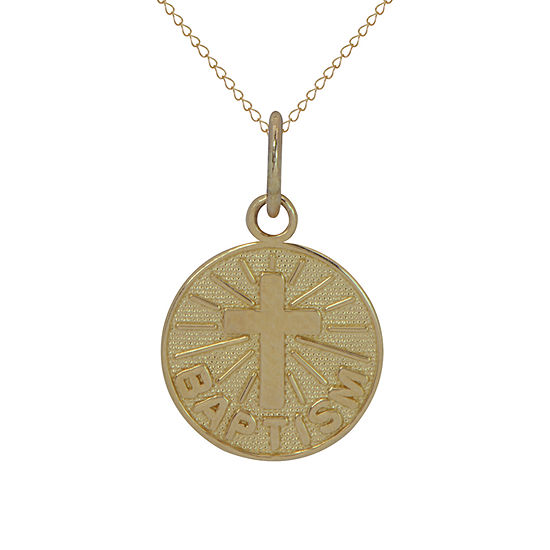 Girls 14K Gold Cross Pendant Necklace