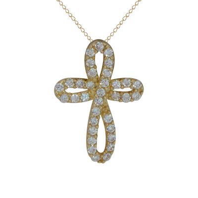 Girls White Cubic Zirconia 14K Gold Cross Pendant Necklace