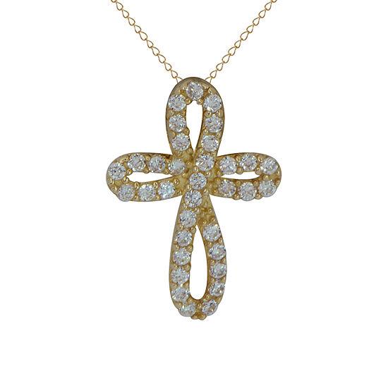 Girls White Cubic Zirconia 14K Gold Cross Pendant Necklace