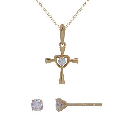Girls 2-pack White Cubic Zirconia 14K Gold Jewelry Set