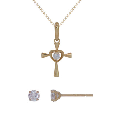 Lab Created White Cubic Zirconia 14K Gold Cross 2-pc. Jewelry Set