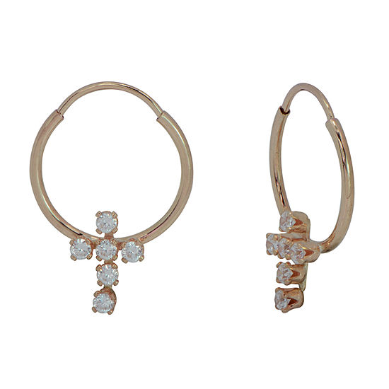 Lab Created White Cubic Zirconia 14K Gold 12mm Cross Hoop Earrings