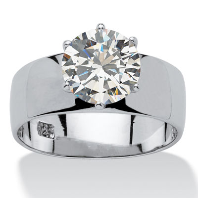 Diamonart Womens 4 CT. T.W. White Cubic Zirconia Sterling Silver Round Engagement Ring