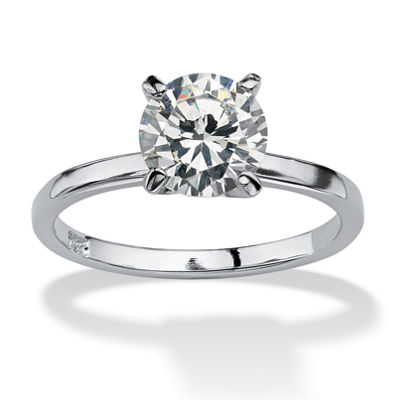 Diamonart Womens 2 CT. T.W. White Cubic Zirconia Sterling Silver Round Engagement Ring