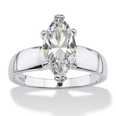 Diamonart Womens 2 CT. T.W. White Cubic Zirconia Sterling Silver Diamond Engagement Ring