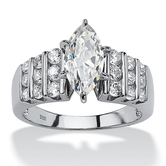 DiamonArt® Womens 2 3/4 CT. T.W. White Cubic Zirconia Platinum Over Silver Engagement Ring