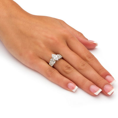 Diamonart Womens 2 3/4 CT. T.W. White Cubic Zirconia Platinum Over Silver Diamond Engagement Ring