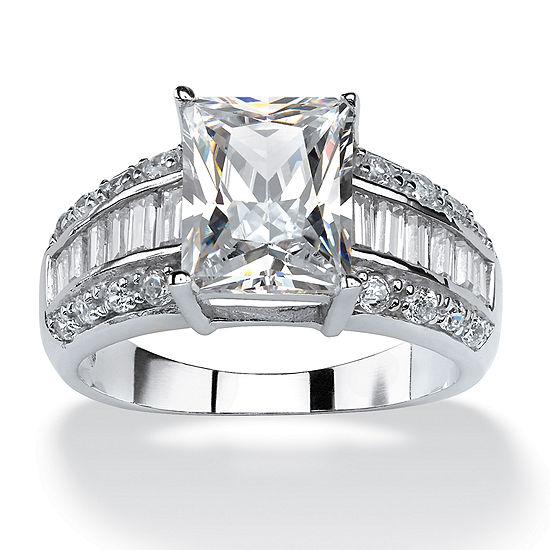 Diamonart Womens 5 CT. T.W. White Cubic Zirconia Platinum Over Silver Rectangular Engagement Ring