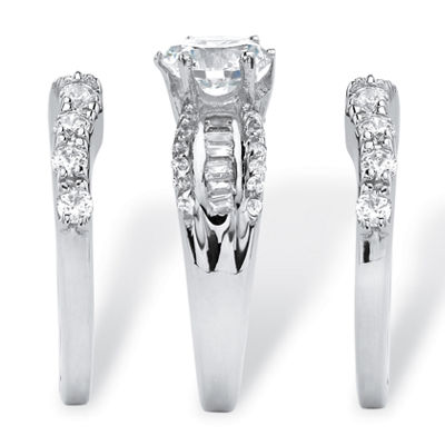 Diamonart Womens 5 1/2 CT. T.W. White Cubic Zirconia Platinum Over Silver Round Bridal Set