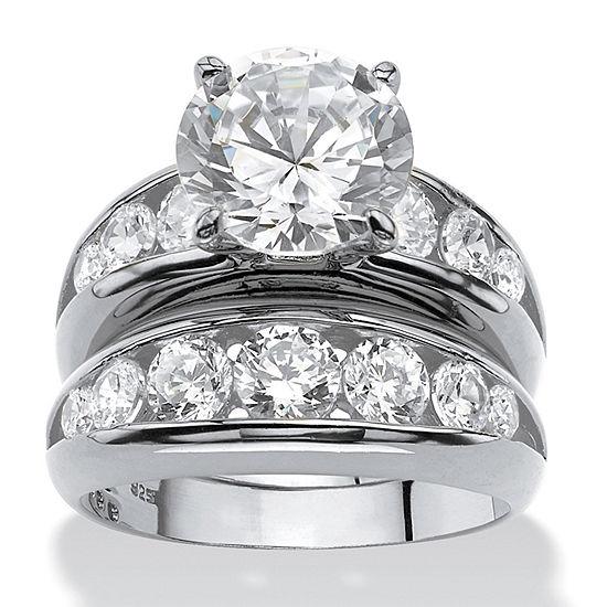 DiamonArt® Womens White Cubic Zirconia Sterling Silver Round Bridal Set
