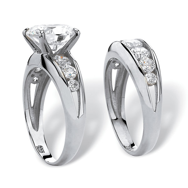 Diamonart Womens Greater Than 6 CT. T.W. White Cubic Zirconia Sterling Silver Bridal Set