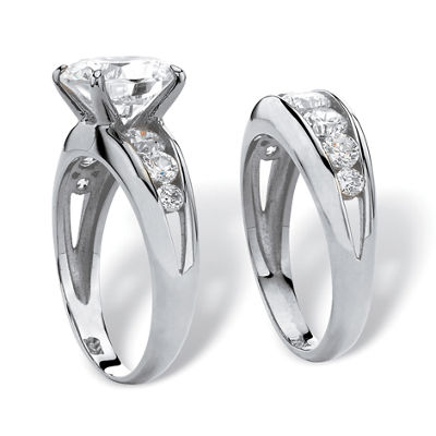 Diamonart Womens White Cubic Zirconia Sterling Silver Round Bridal Set