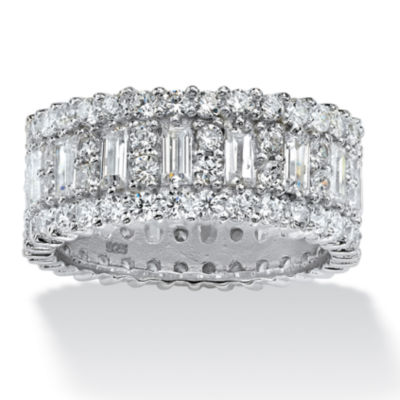 Diamonart Womens 9M 4 3/4 CT. T.W. White Cubic Zirconia Platinum Over Silver Rectangular Band