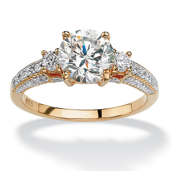 Diamonart Womens 2 1/3 CT. T.W. White Cubic Zirconia 14K Gold Over Silver Round Engagement Ring