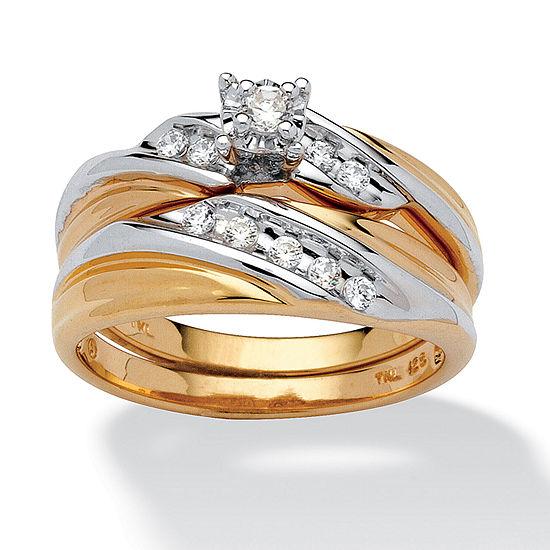 Diamonart Womens 1/4 CT. T.W. White Cubic Zirconia 18K Gold Over Silver Bow Bridal Set