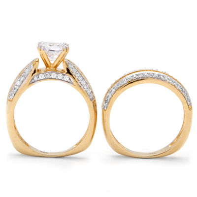 Diamonart Womens 2 1/2 CT. T.W. White Cubic Zirconia 18K Gold Over Silver Round Bridal Set