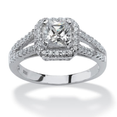 Diamonart Womens 1 5/8 CT. T.W. White Cubic Zirconia Platinum Over Silver Square Engagement Ring