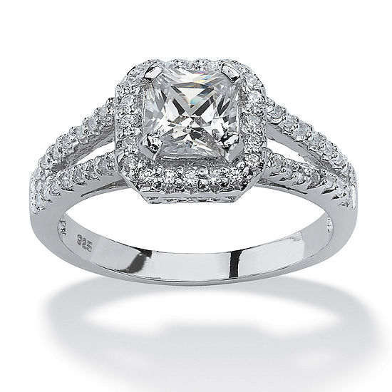 DiamonArt® Womens 1 5/8 CT. T.W. White Cubic Zirconia Platinum Over Silver Square Engagement Ring