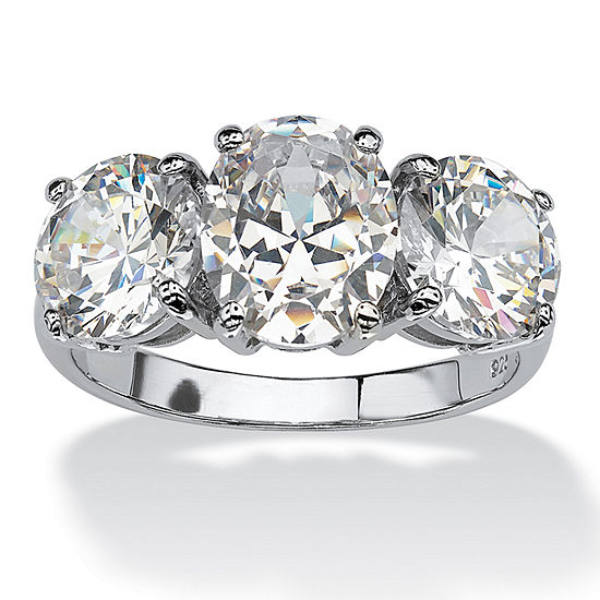 Diamonart Womens White Cubic Zirconia Platinum Over Silver Oval Engagement Ring